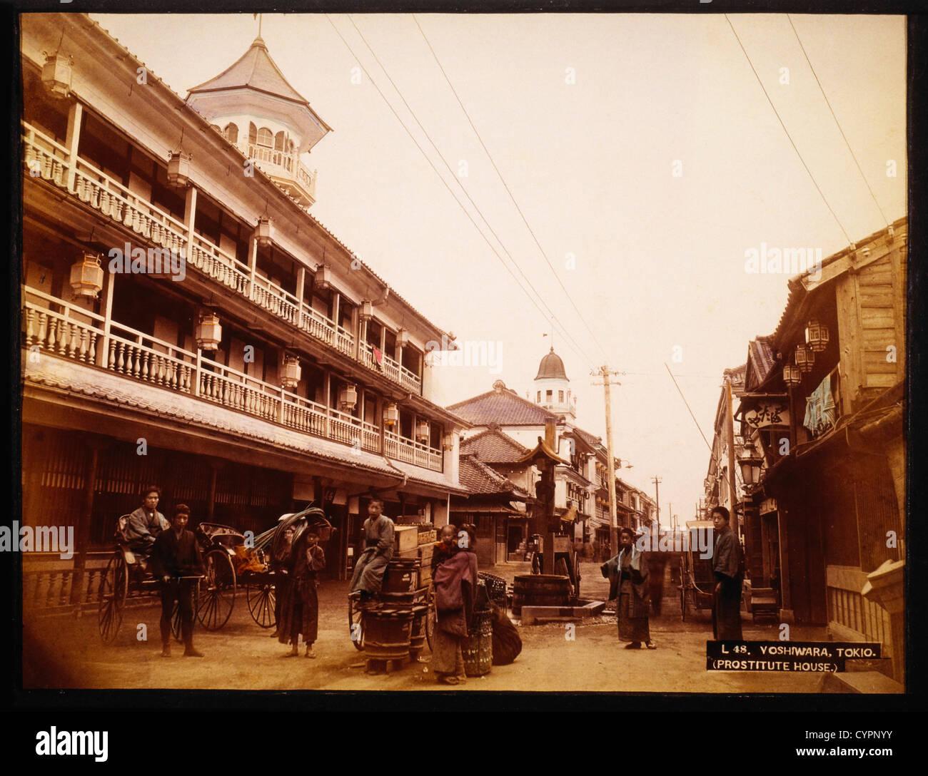 Yoshiwara distretto, Tokyo, Giappone, Hand-Colored fotografia, circa 1880 Immagini Stock
