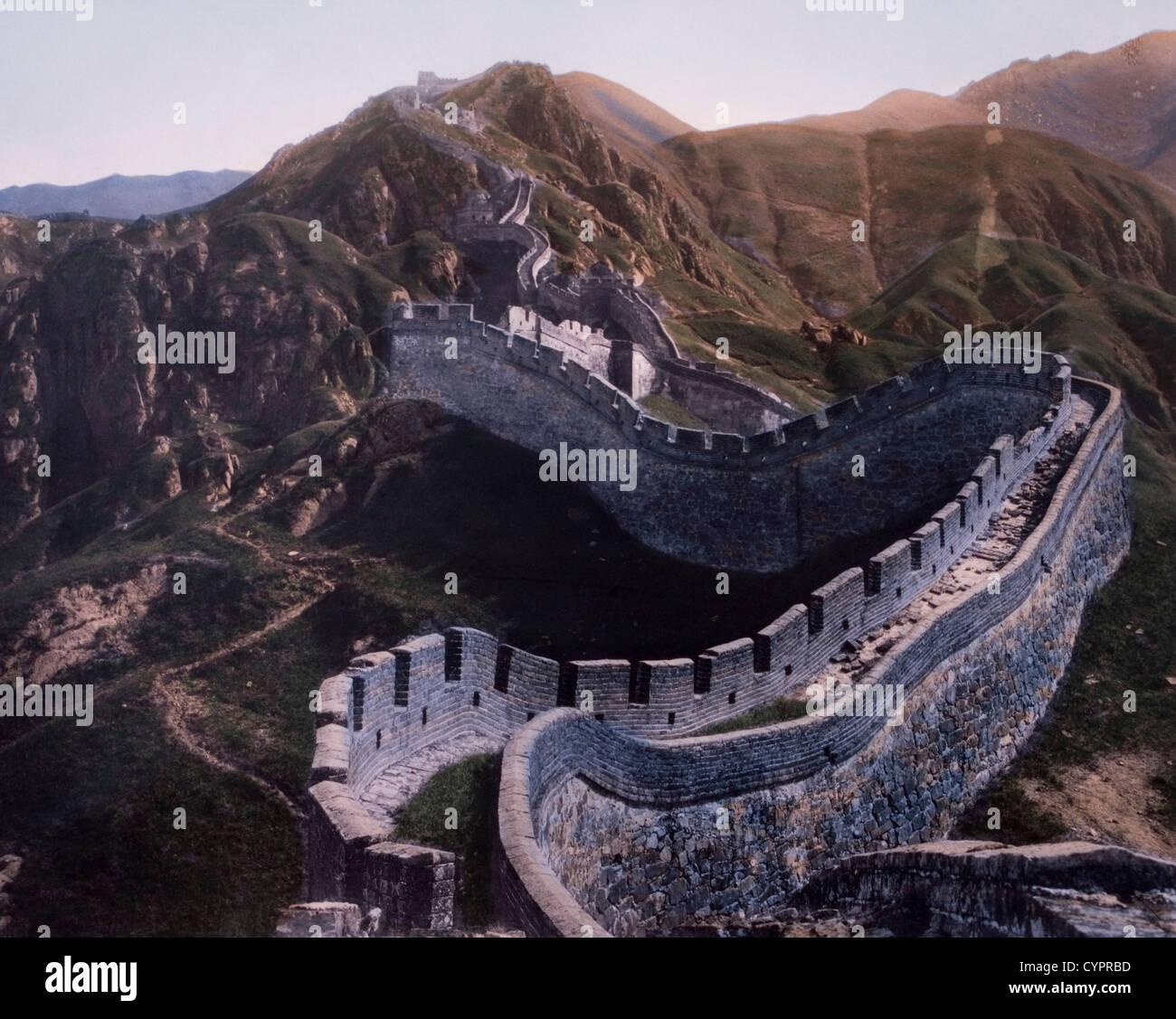 La Grande Muraglia della Cina, Hand-Colored fotografia, 1930 Immagini Stock