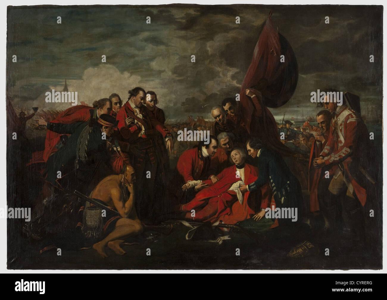 La morte del generale Wolfe, pittura, XVIII secolo Olio su tela, non firmati. Copia del famoso dipinto di Benjamin Immagini Stock