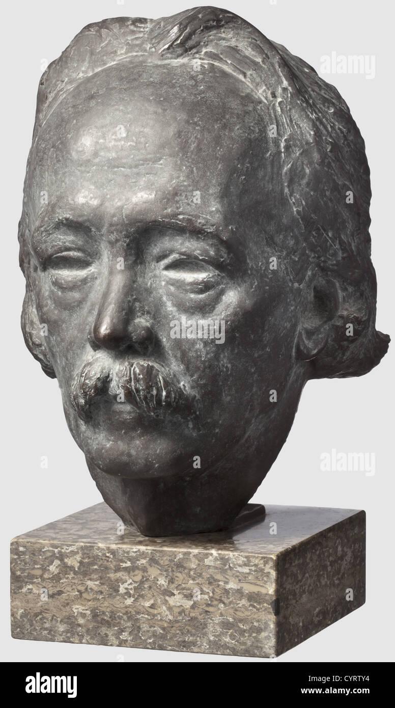 Il Professor Kurt Schmid-Ehmen (1901 - 1968), un busto in bronzo del pianista e compositore Josef Pembaur (1875 Immagini Stock