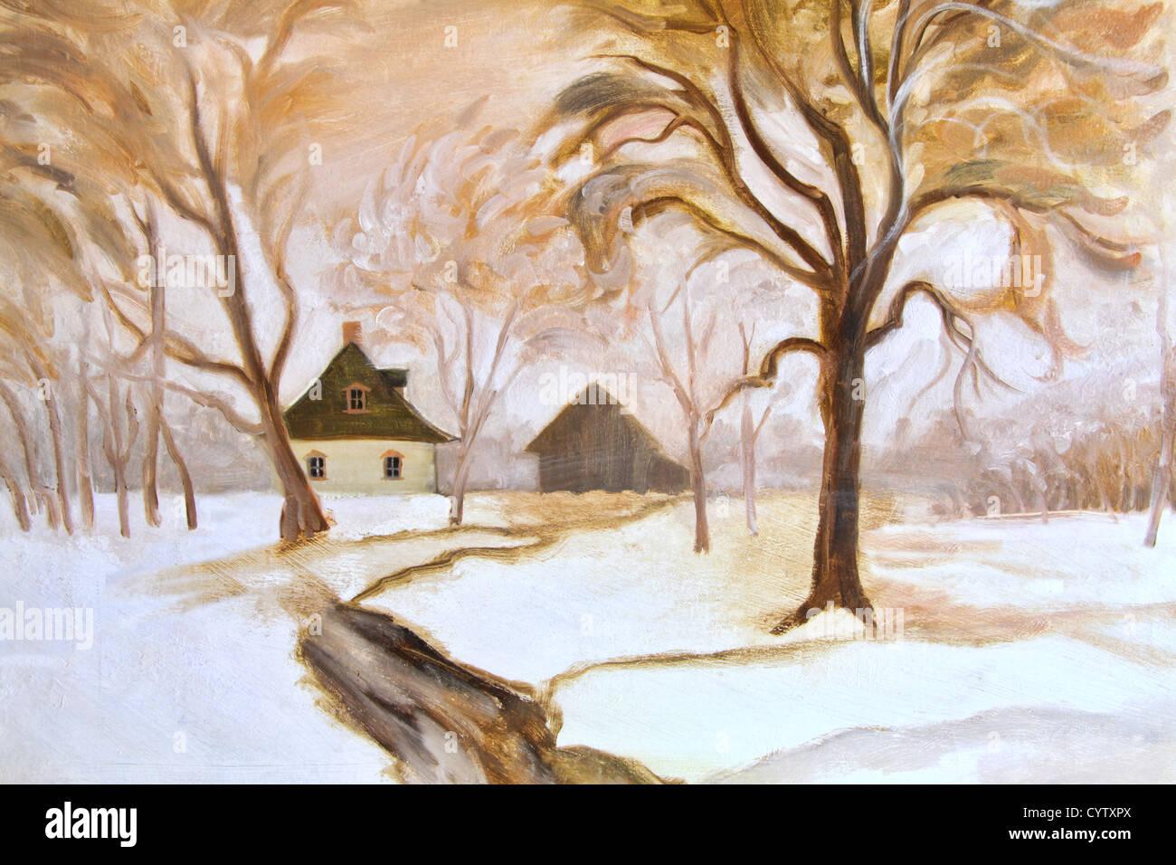 In inverno il dipinto a olio su tela Immagini Stock
