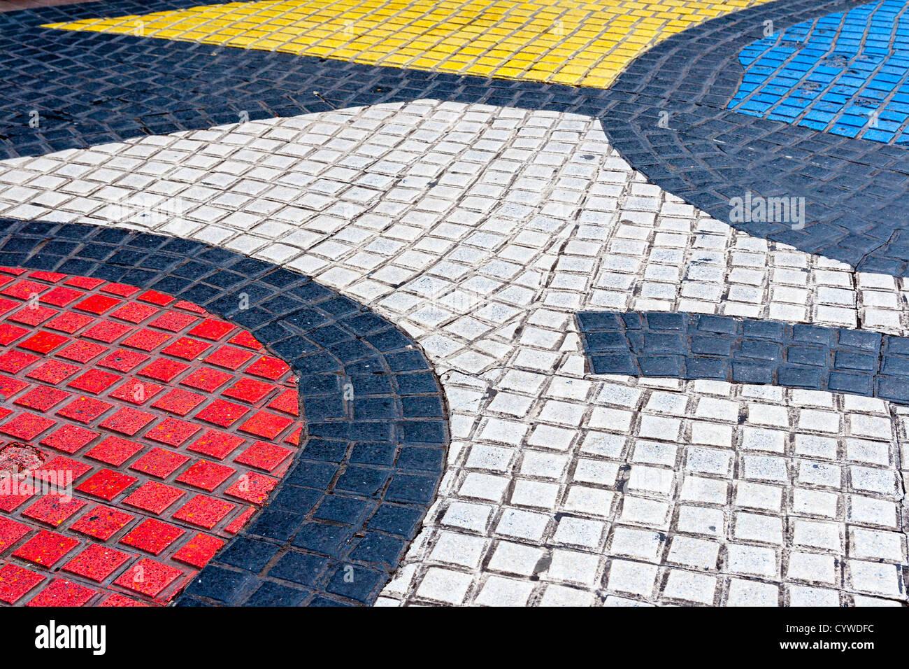 Dettaglio del mosaico in Les Rambles, Barcellona Immagini Stock