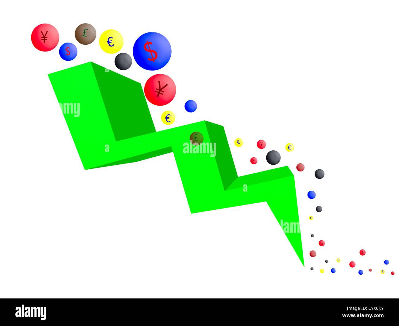 Valute sulla tendenza al ribasso, sfondo bianco Immagini Stock