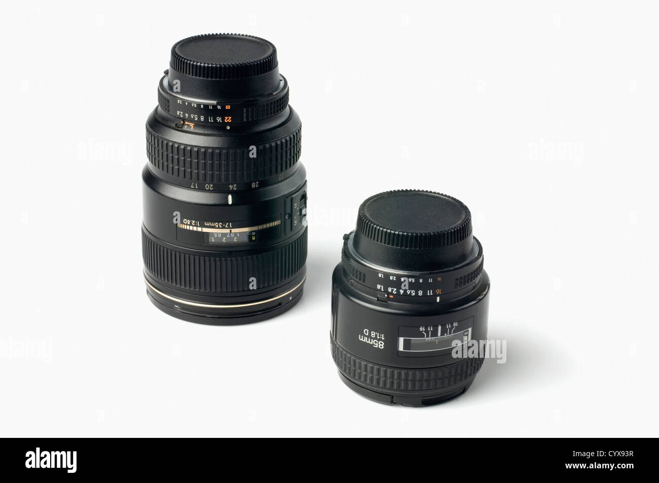 Close-up di due lenti fotografiche Immagini Stock