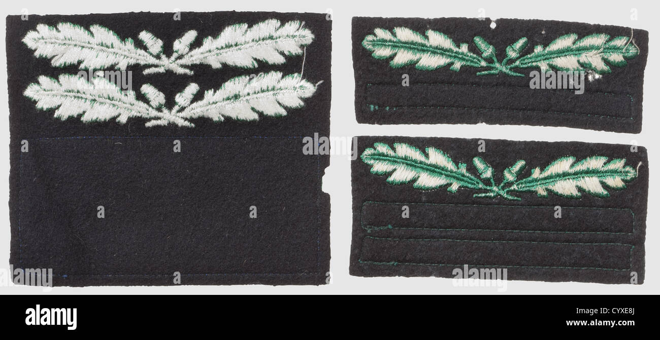 Tre rank-badge per il camuffamento di uniforme, RZM-macchina-questioni ricamato, verde sul panno nero per 'SS Immagini Stock
