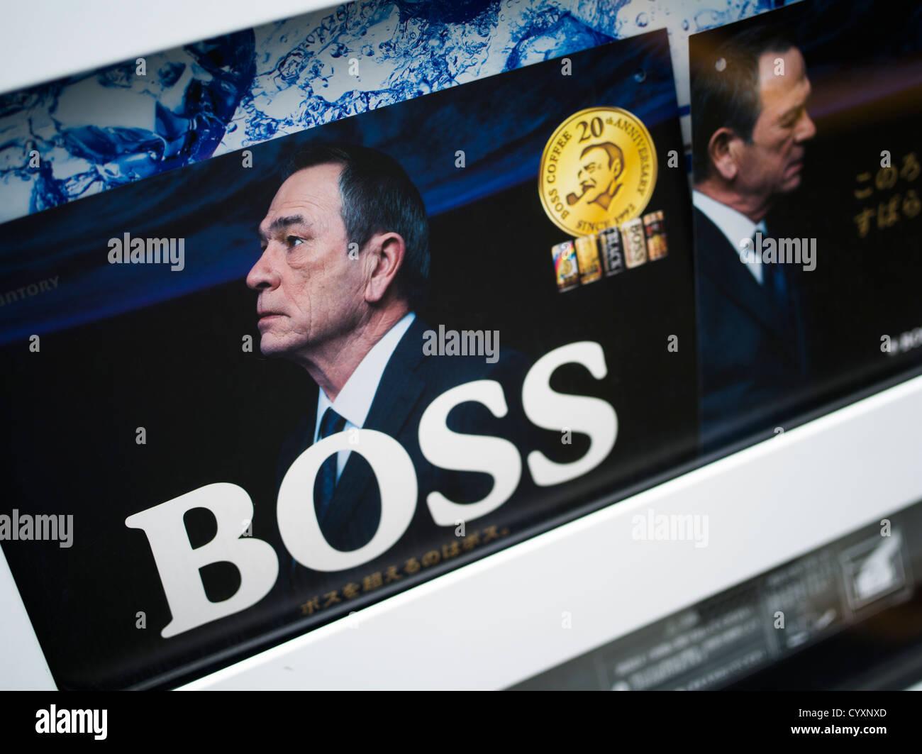 Il boss della pubblicità di caffè in Giappone utilizzando celebrità / attore Tommy Lee Jones Immagini Stock