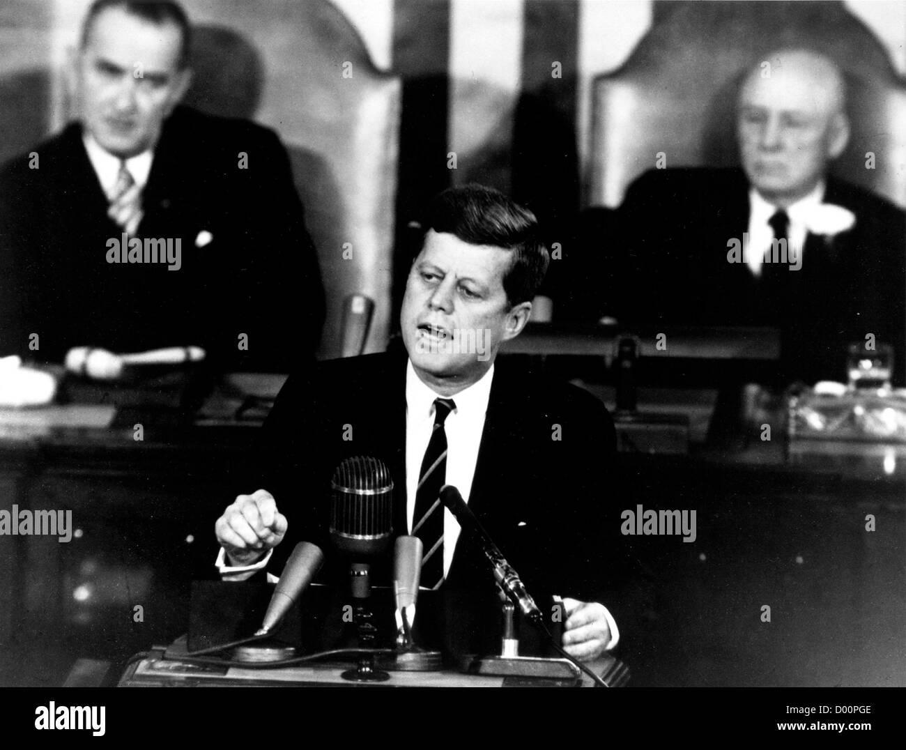 Il presidente John F Kennedy dando storico discorso Foto Stock
