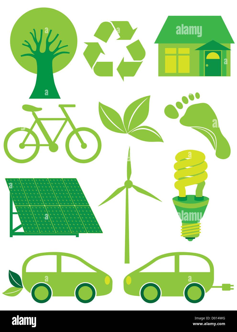 Go Green Simboli Eco Con Albero A Foglia Di Riciclo Bicicletta