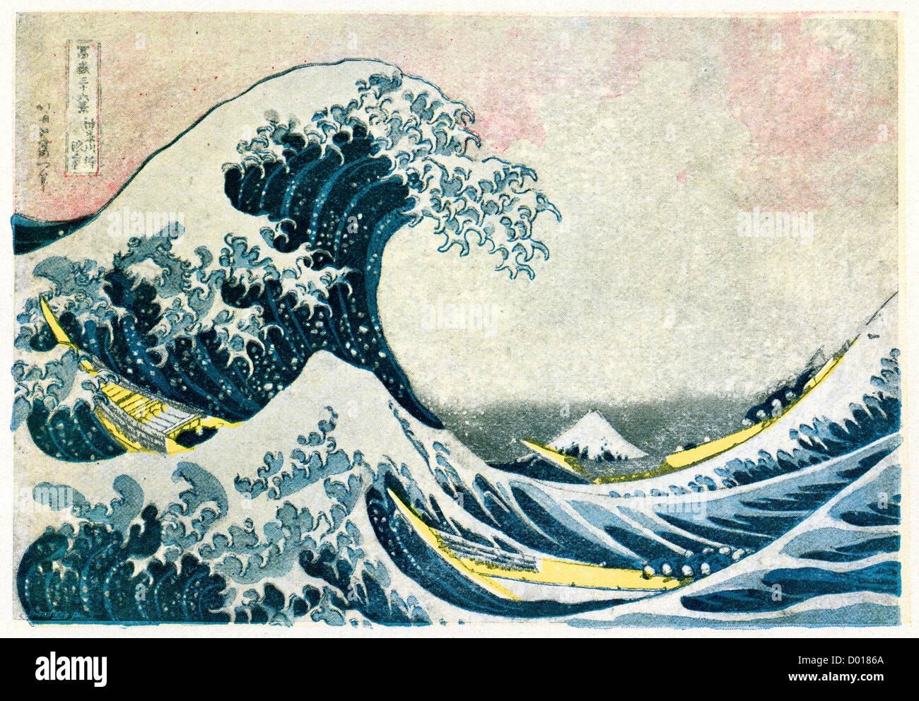 La grande onda off Kanagawa, conosciuta anche come la grande onda o semplicemente l'onda un woodblock Print by Hokusai Foto Stock