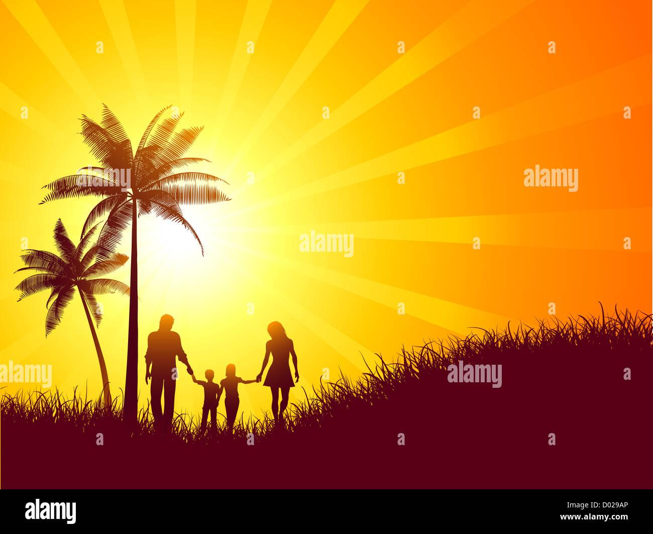Paesaggio estivo con silhouette di una famiglia a piedi Immagini Stock