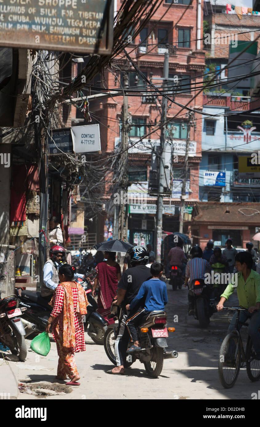 Strada caotica di Kathmandu in Nepal Immagini Stock