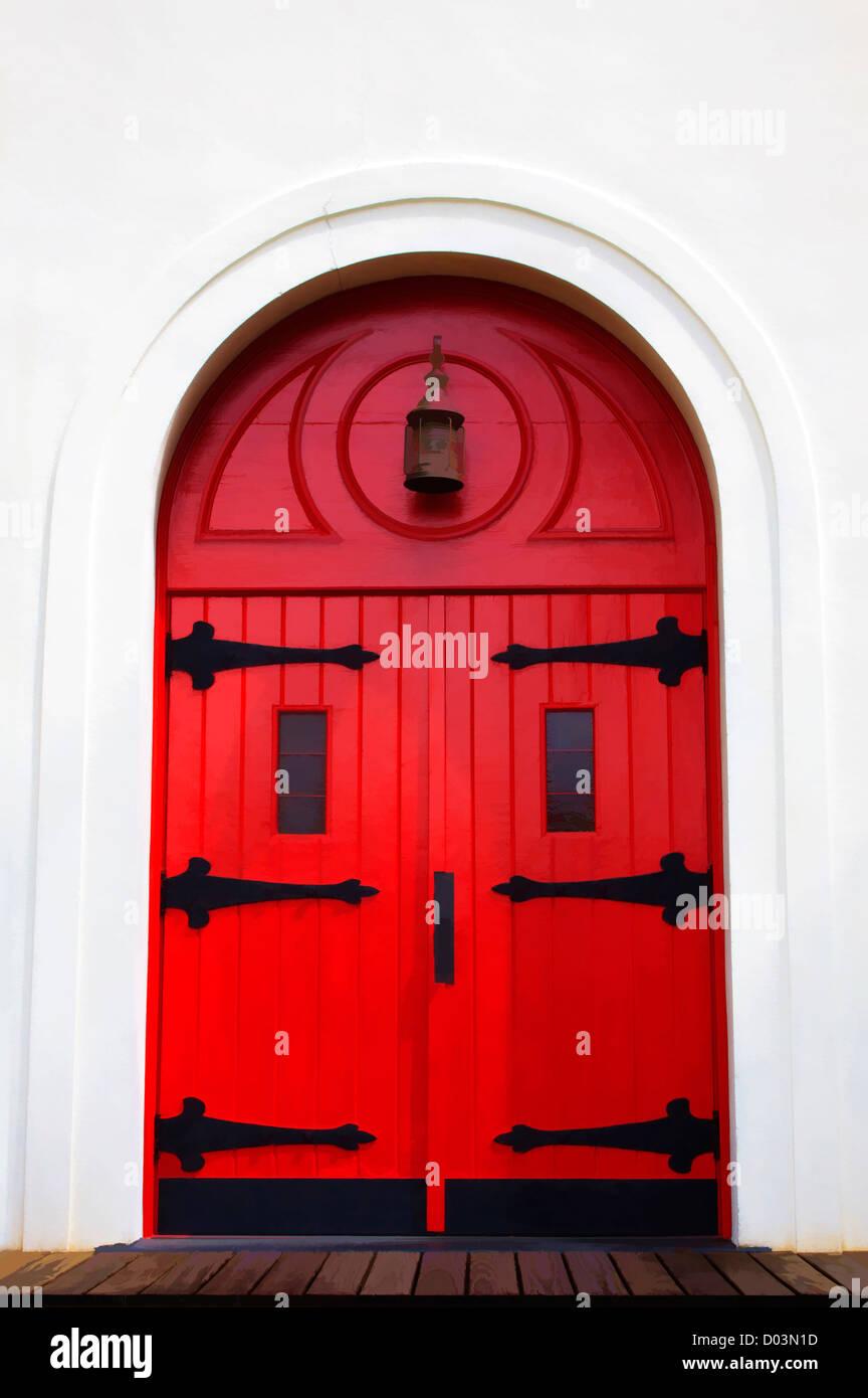 Nord America, USA, Georgia, Darien, Rosso porta ad arco della Chiesa. Immagini Stock