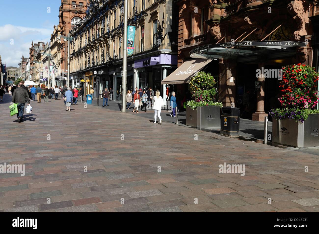 Buchanan Street zona pedonale nel centro della città di Glasgow, Scotland, Regno Unito Immagini Stock