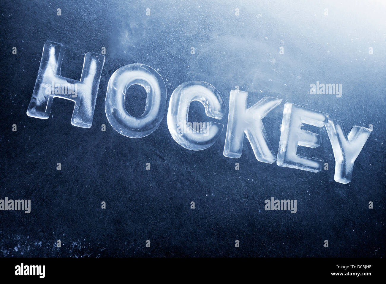 La parola scritta di hockey con real ice lettere. Immagini Stock