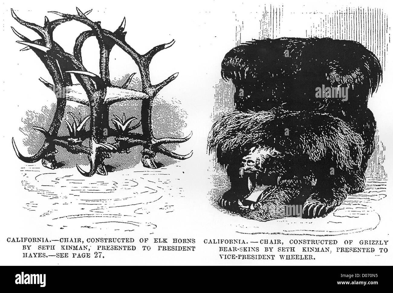 Le sedie da Seth Kinman da un 1877 edizione di Leslie settimanale. Immagini Stock