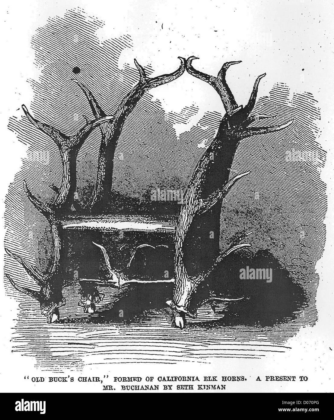Immagine di un elkhorn sedia, realizzato da Seth Kinman, presentato al Presidente Buchanan nel 1857 Immagini Stock