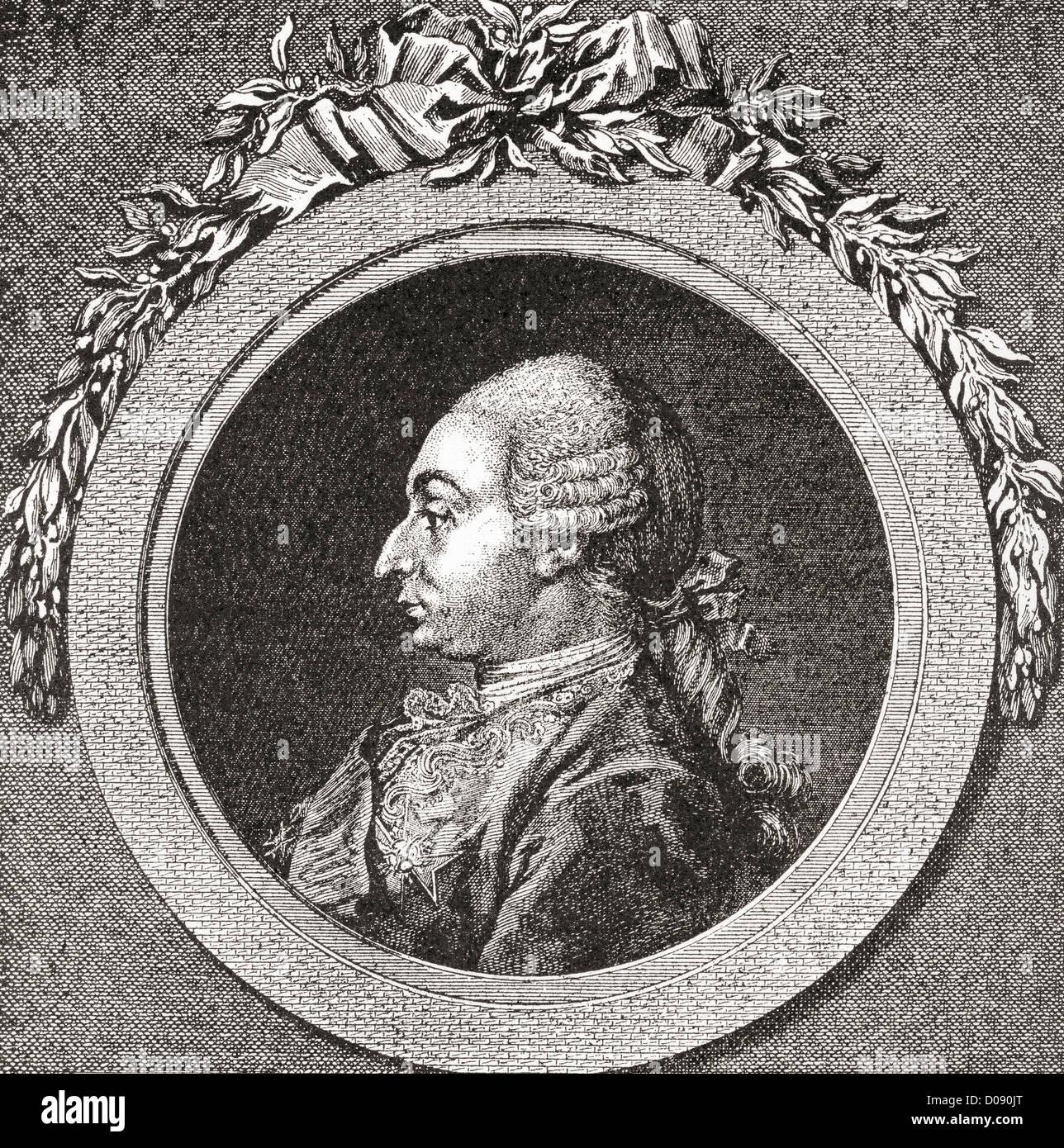 Marc Antoine René de Voyer, marchese de Paulmy e terzo Marchese d'Argenson, 1722- 1787. Diplomatico francese. Immagini Stock