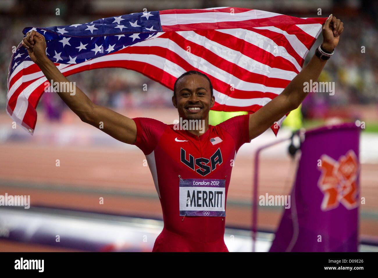 Aries Merritt (USA) medaglia d'oro negli uomini 110m Ostacoli alla Olimpiadi estive, Londra 2012 Foto Stock