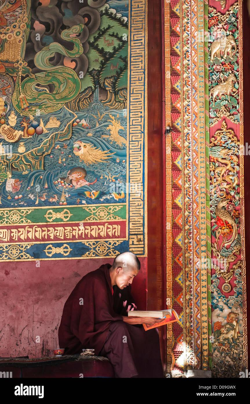Giovane monaco buddista studi libro di preghiera al di fuori del tempio, Monastero Tashilhunpo, Shigatse, nel Tibet, Immagini Stock