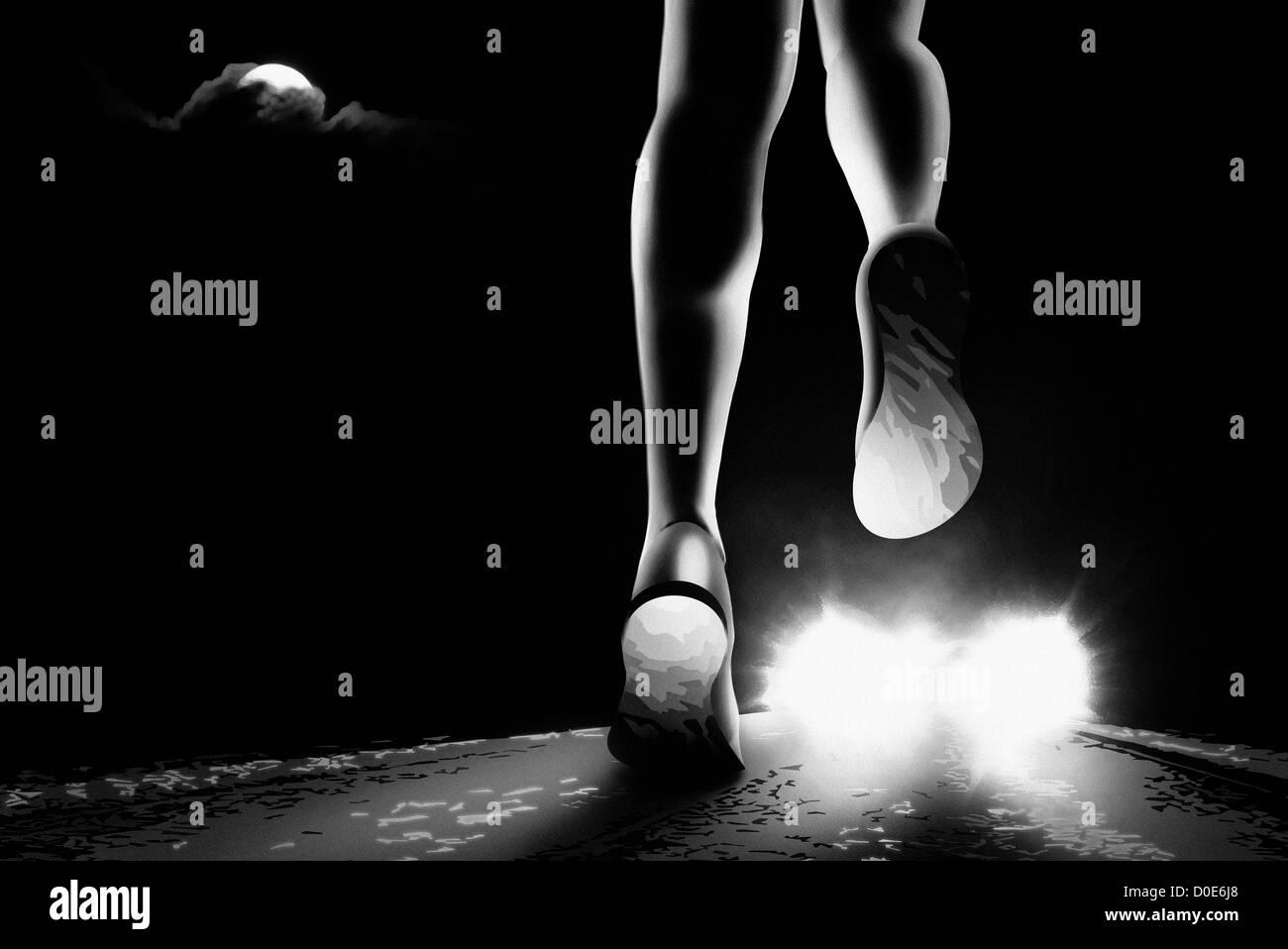 Jogging femmina nella notte. Immagini Stock