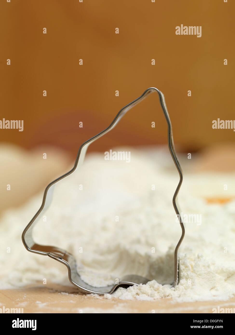 Forma brad de craciun ingrediente macro turta dulce Immagini Stock