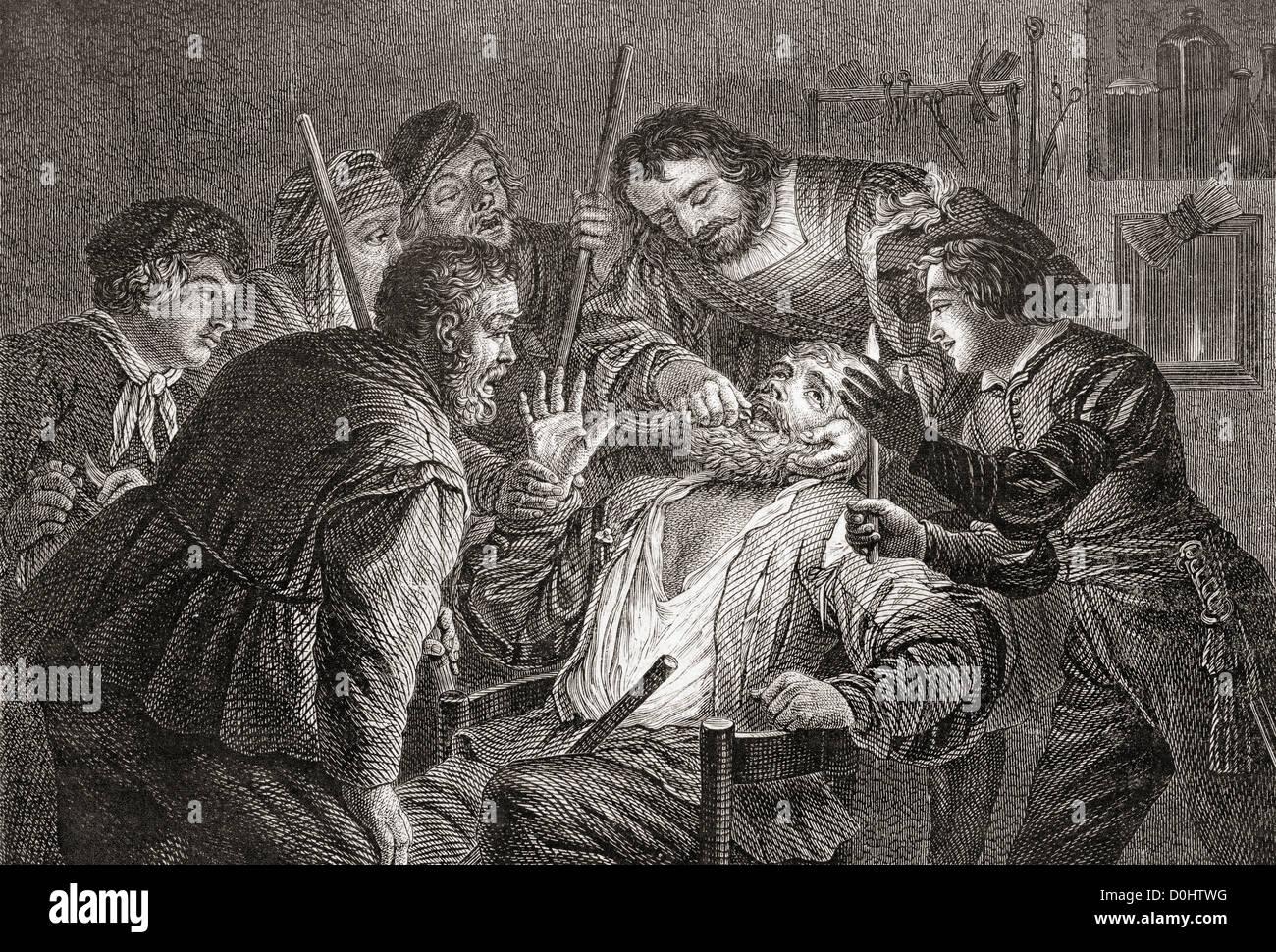 La Dentiste, il dentista di Gerard van Honthorst. Odontoiatria nel XVII secolo. Immagini Stock