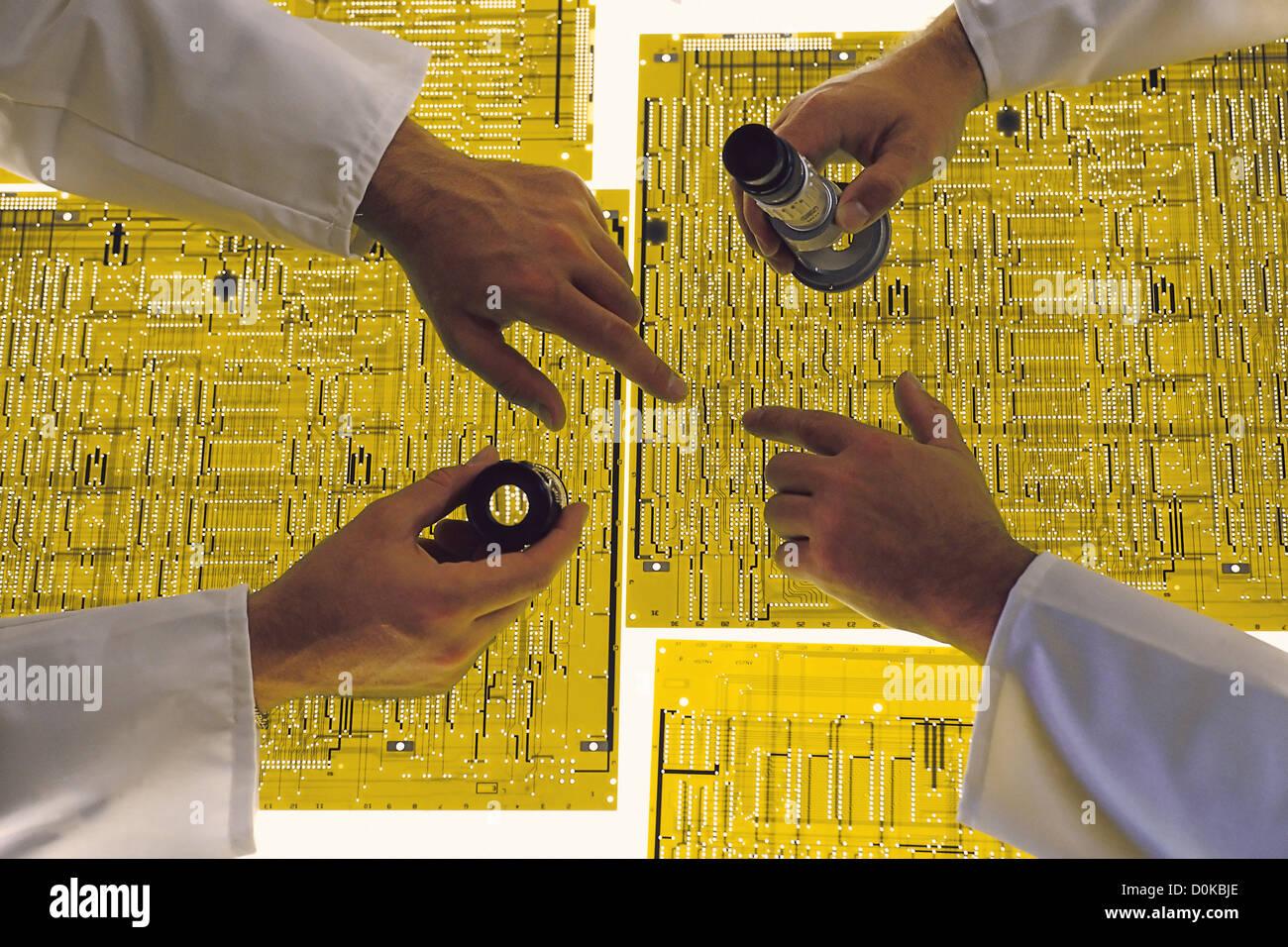 Produzione di circuiti stampati Immagini Stock