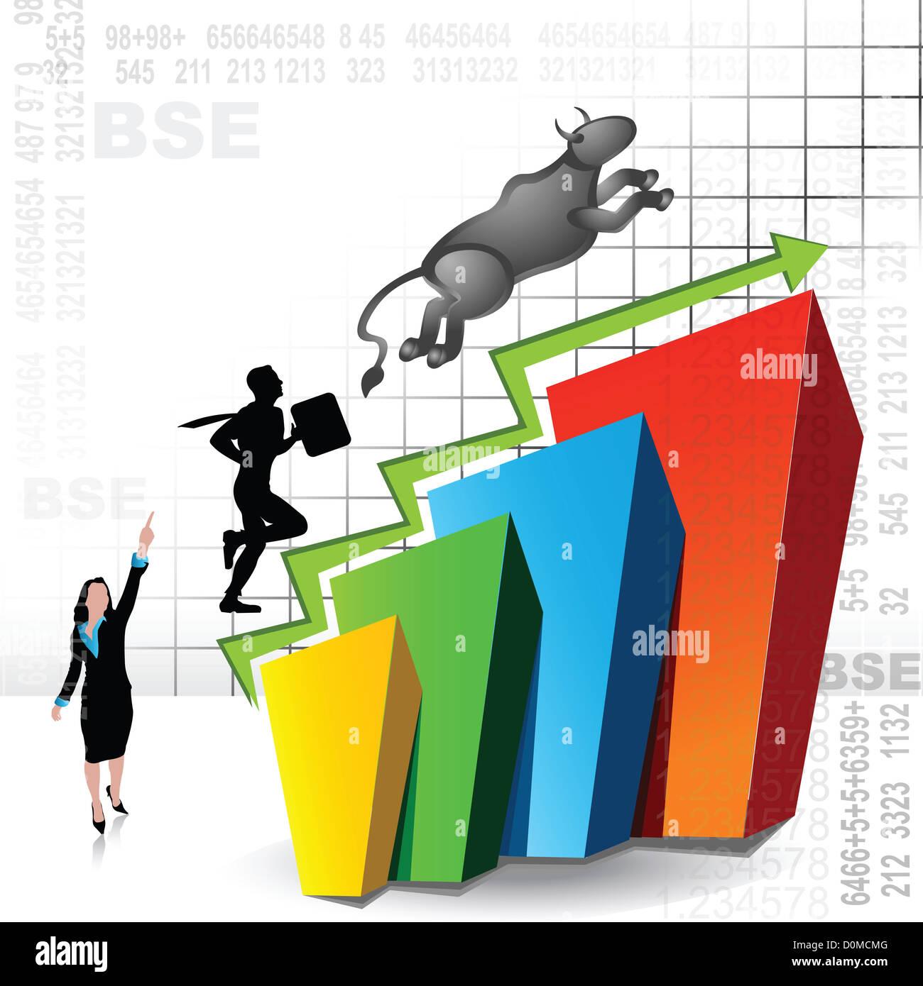 Rappresentazione illustrativa che mostra luogo nel mercato azionario Foto Stock