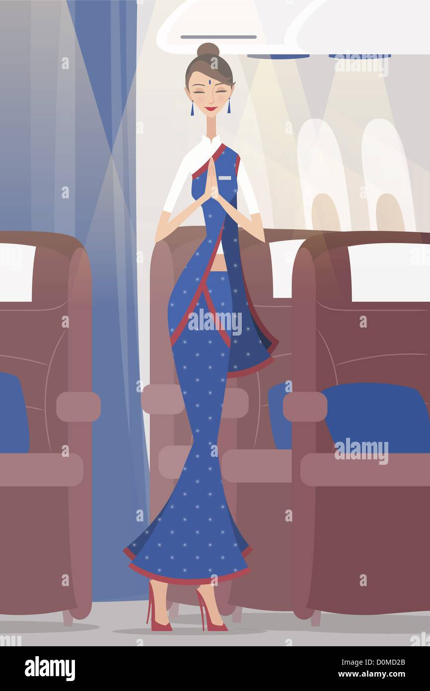 Aria indiana saluto hostess a bordo di un velivolo Immagini Stock