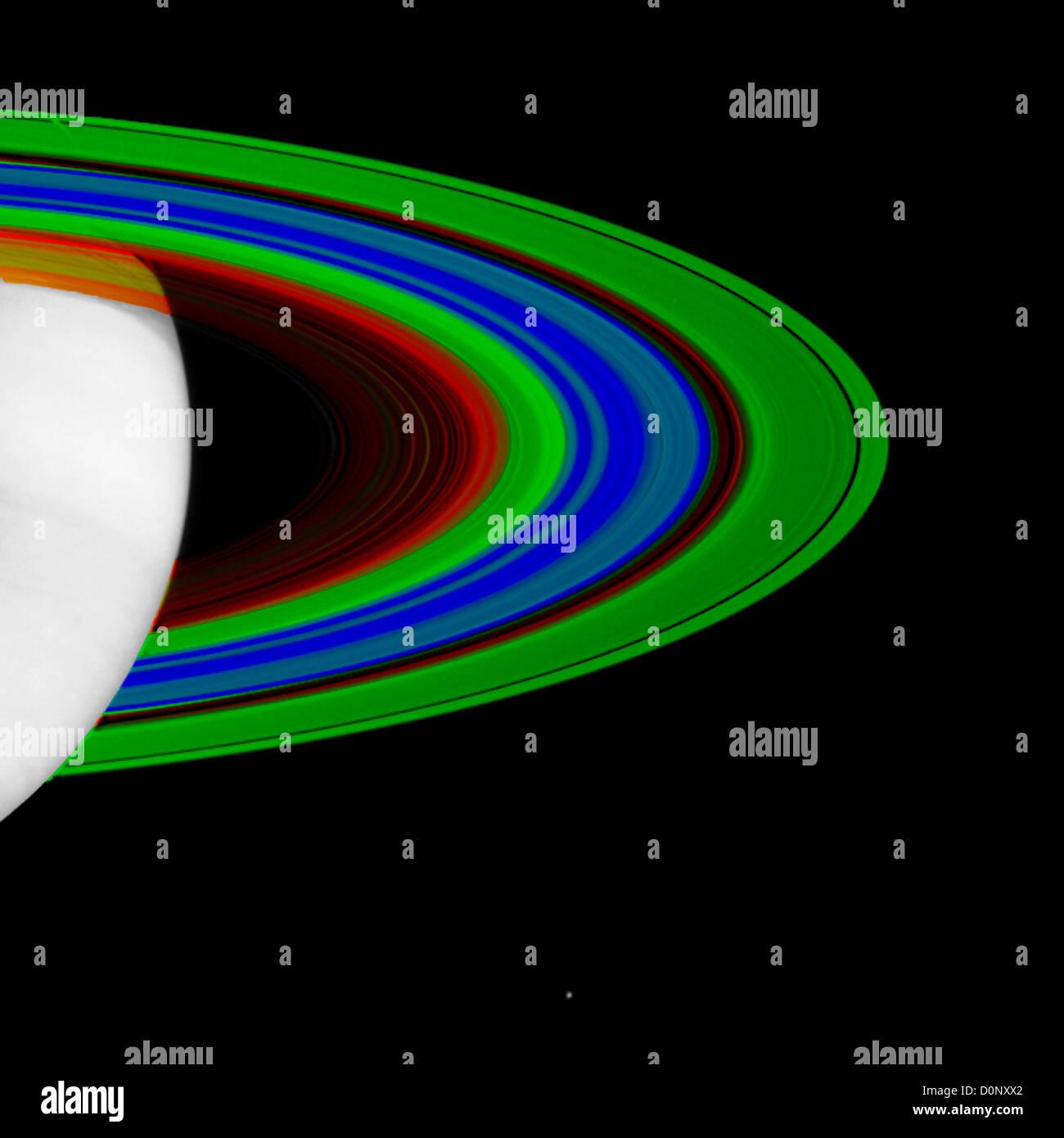 Immagini di Cassini la temperatura degli anelli di Saturno Immagini Stock