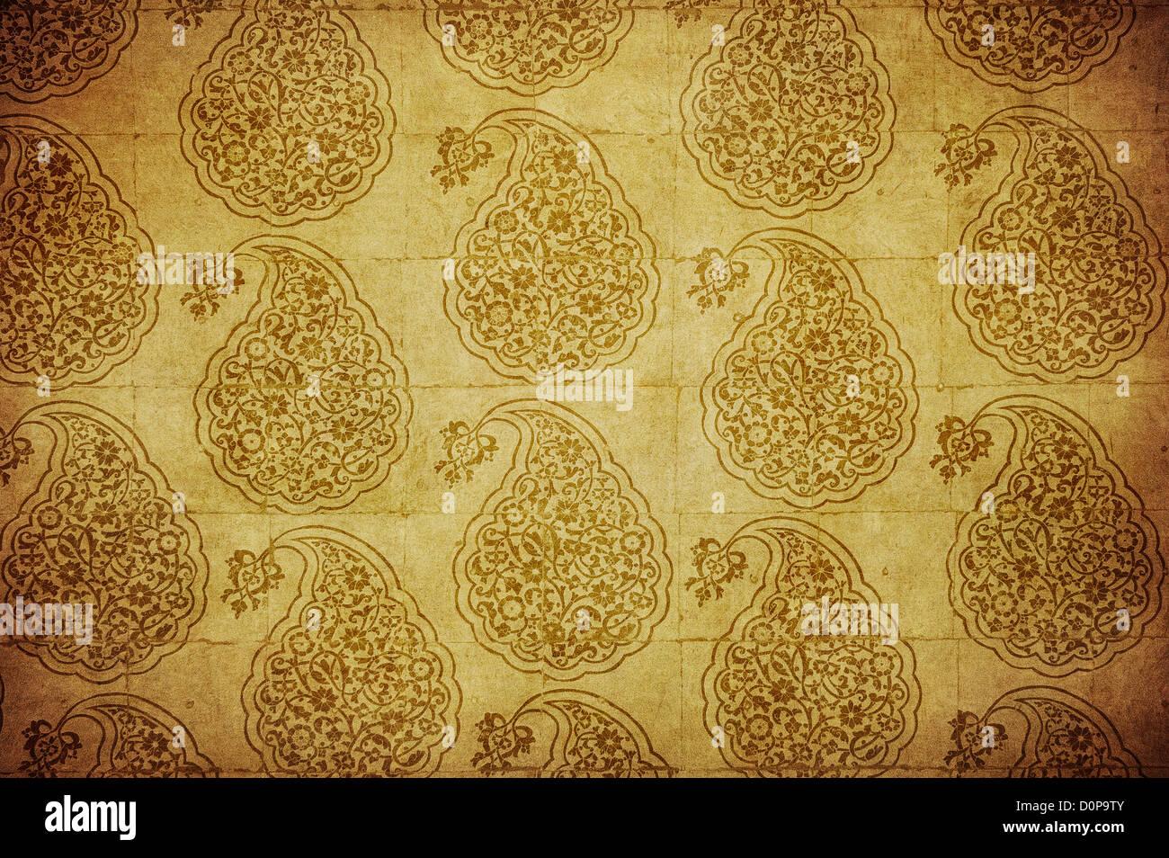 Grunge sfondo con decorazioni orientali Immagini Stock