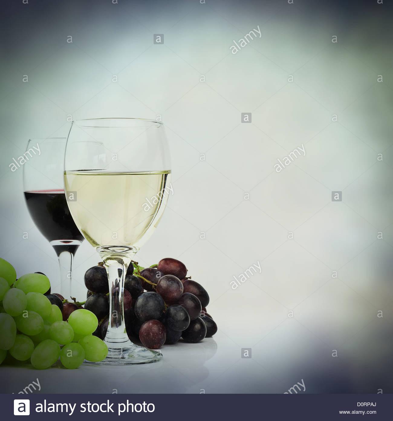 Rosso Bianco di uve da vino sfondo Immagini Stock