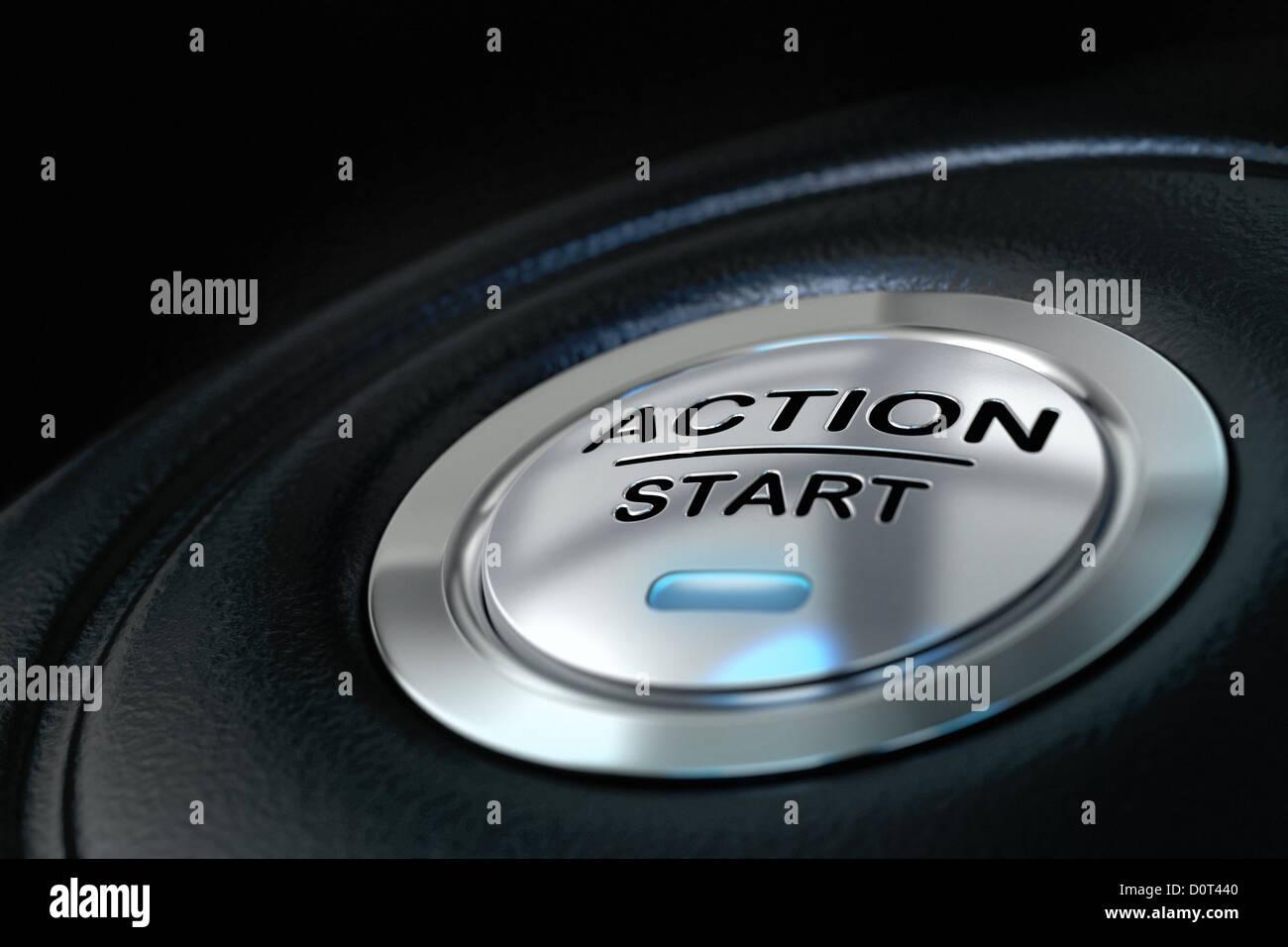 Azione spinto il pulsante di avviamento su sfondo nero, luce blu, il concetto di motivazione Immagini Stock