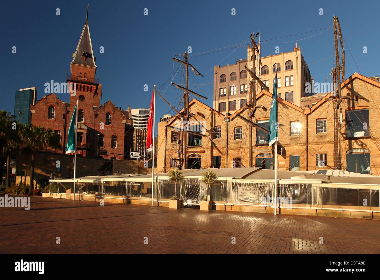 La Roccia, Sydney, luogo di interesse storico, graziosamente, sun, sunrise, cielo blu, evidenziare, Porto, porto, Immagini Stock
