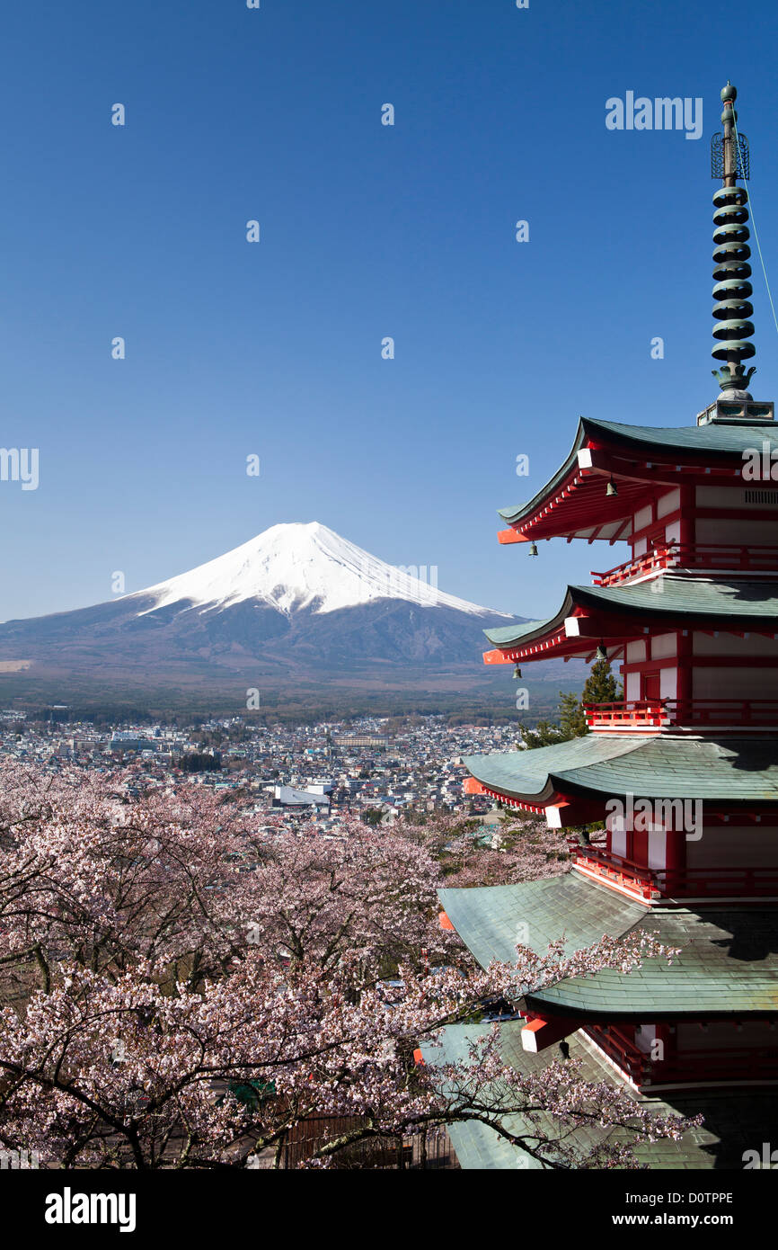 Giappone, Asia, vacanze, viaggi, fiori di ciliegio, Pagoda, Arakura, Sengen, Santuario, Fuji, il Monte Fuji, Fujiyama, Immagini Stock