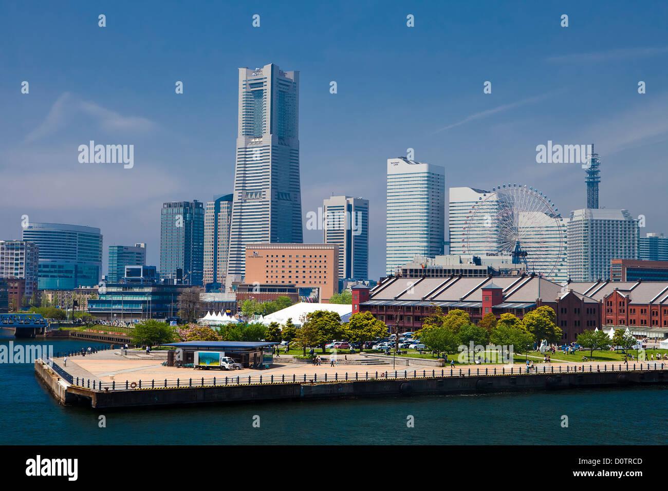 Giappone, Asia, vacanze, viaggi, Yokohama, città di Yokohama skyline, Landmark, edificio, Porto, porto Immagini Stock