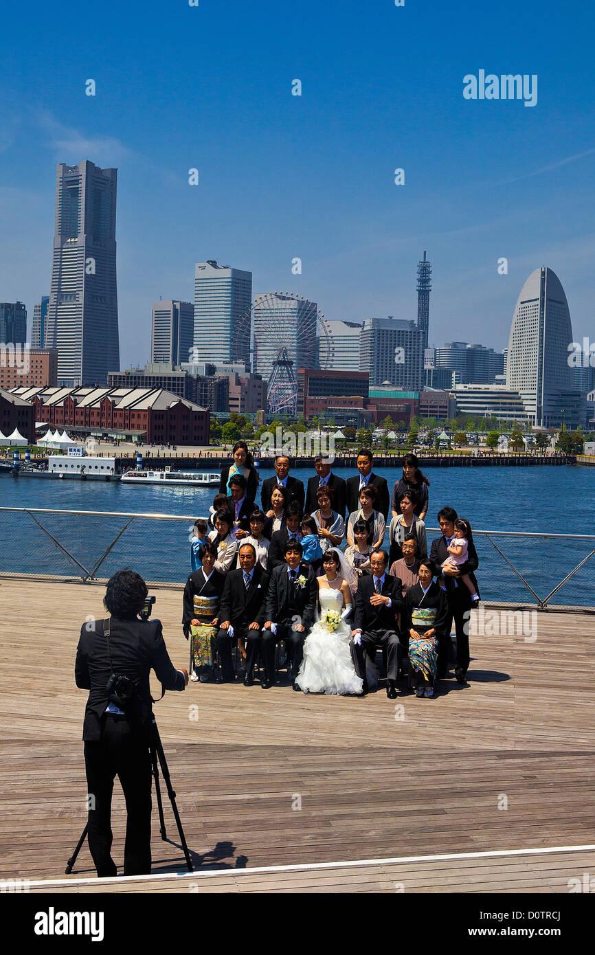 Giappone, Asia, vacanze, viaggi, Yokohama City, Wedding, fotografo, skyline, tradizione e moderno Immagini Stock