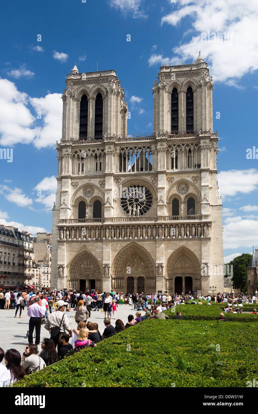 Francia, Europa, viaggi, Parigi, città, Notre Dame, architettura, cattedrale, storia, persone skyline, turismo, Immagini Stock
