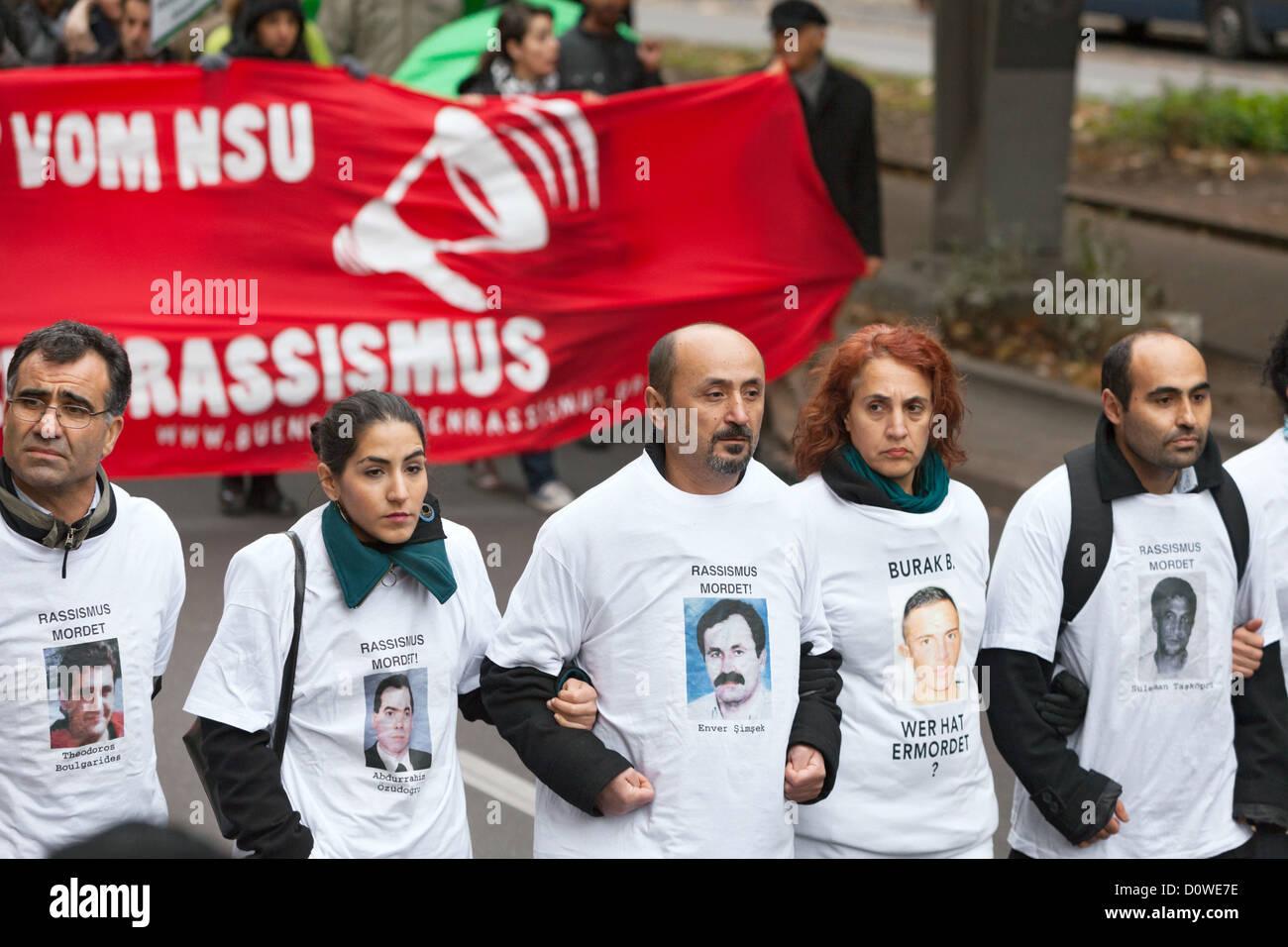 Commemorazione di dimostrazione sotto il motto: In memoria delle vittime del NSU, Berlino, Germania Immagini Stock