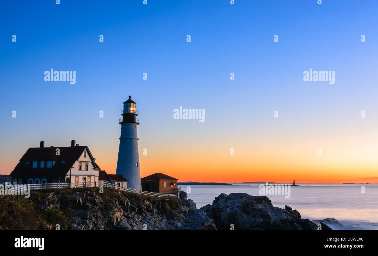 Portland Head Light è un storico Faro di Cape Elizabeth, Maine Immagini Stock