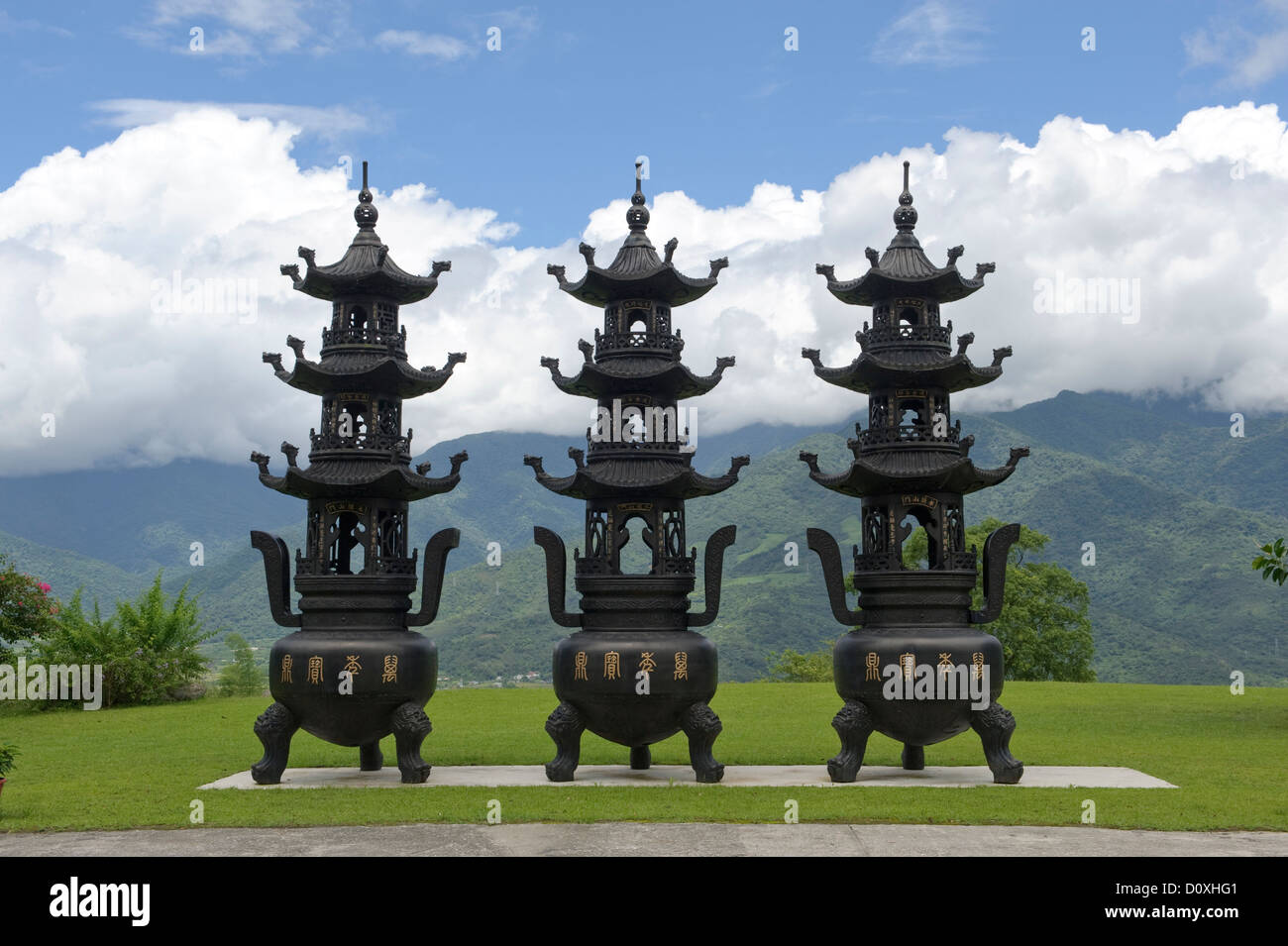 Asia, Taiwan, tempio, Dong Fu Zan, East River Valley, religione Immagini Stock