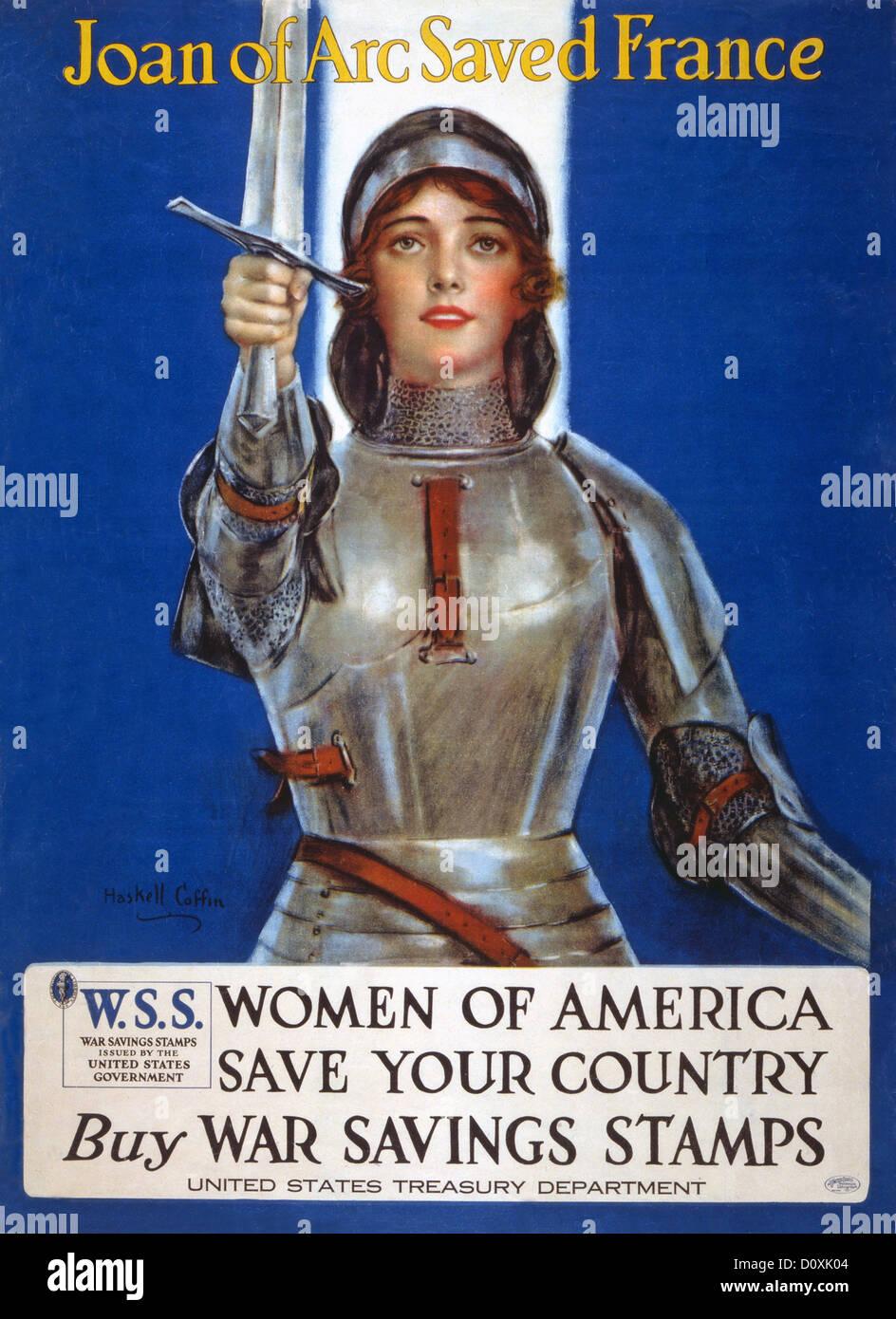 La prima guerra mondiale, americano, poster, salvataggio, timbri, bond, risparmio francobolli, Giovanna d'arco, Immagini Stock