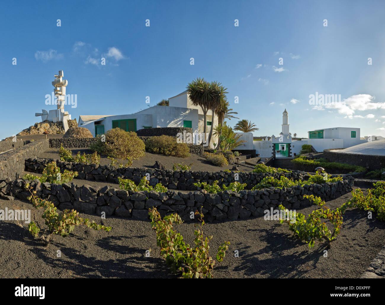 Spagna, Lanzarote, Mozaga, Monumento al campesina, monumento, città, villaggio, estate, Isole Canarie, Immagini Stock