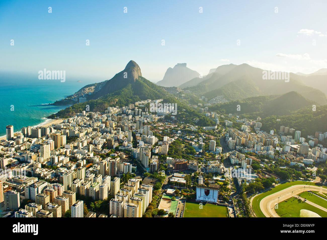 Vista aerea di Lagoa e Ipanema, a Rio de Janeiro in Brasile Immagini Stock