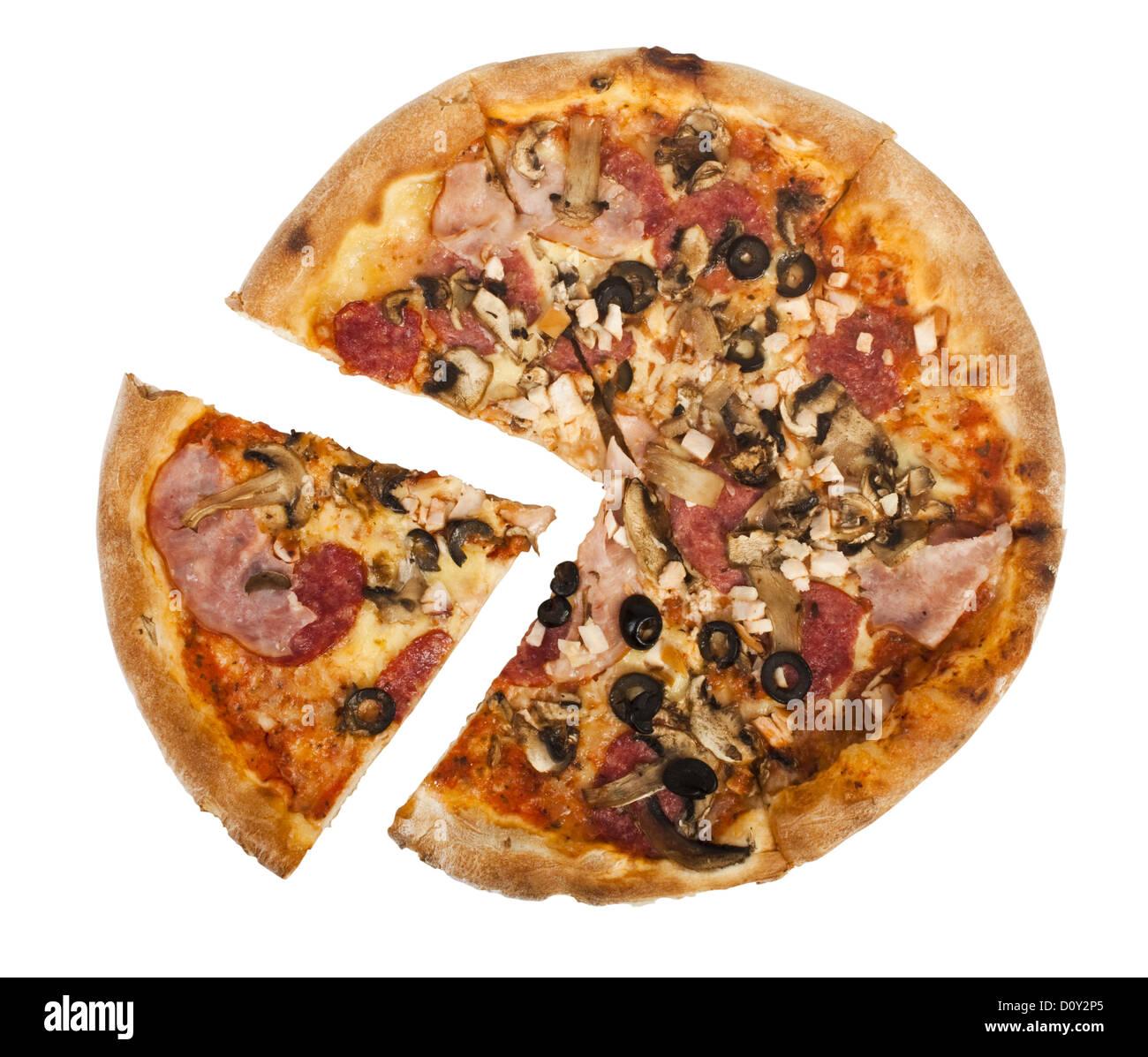 Pepperoni pizza Immagini Stock