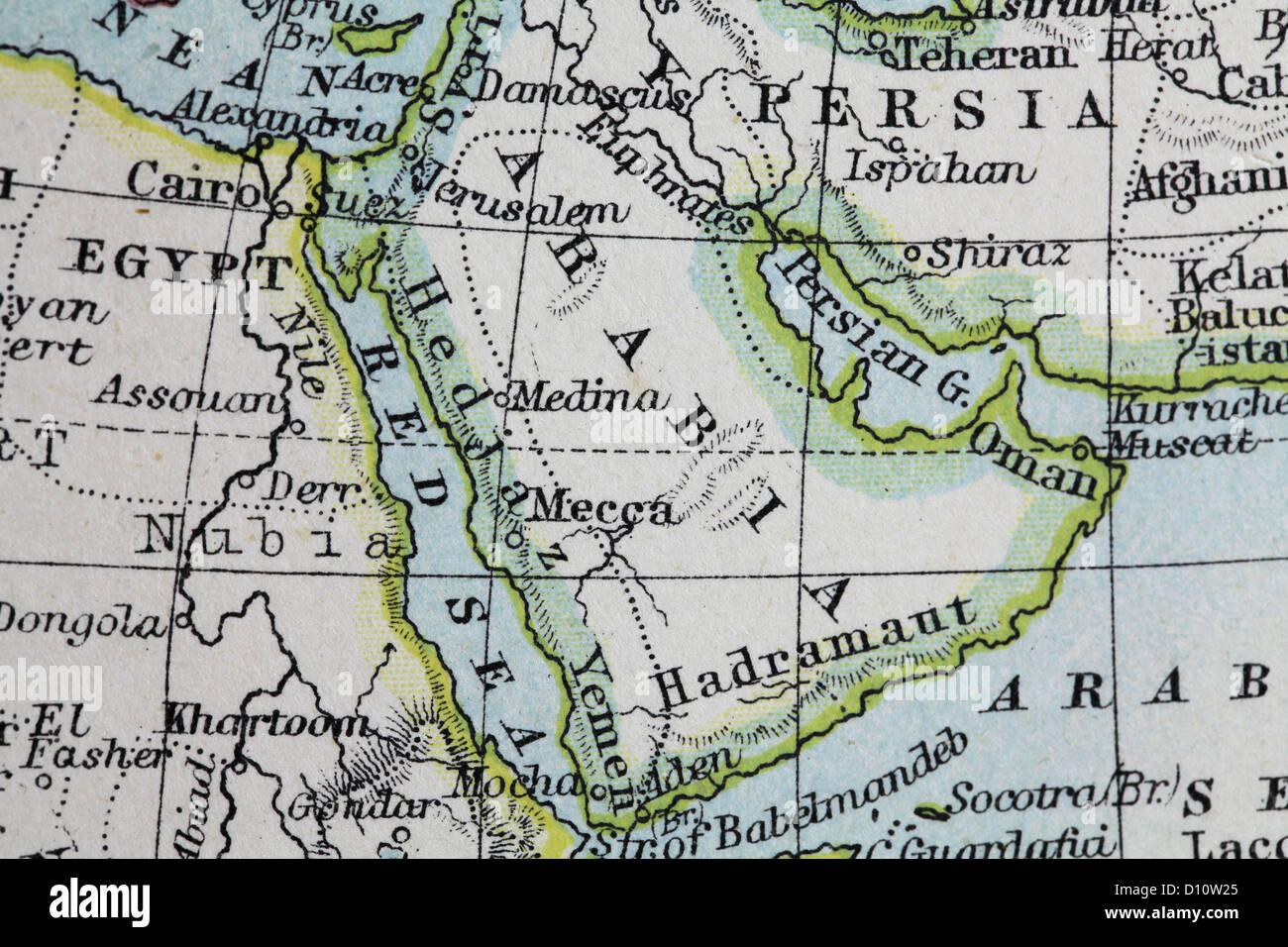 Mappa Antico da W e un&K Johnston, stampato in c.1888. Illustrare il mondo in emisferi. Ingrandita su Arabia Immagini Stock
