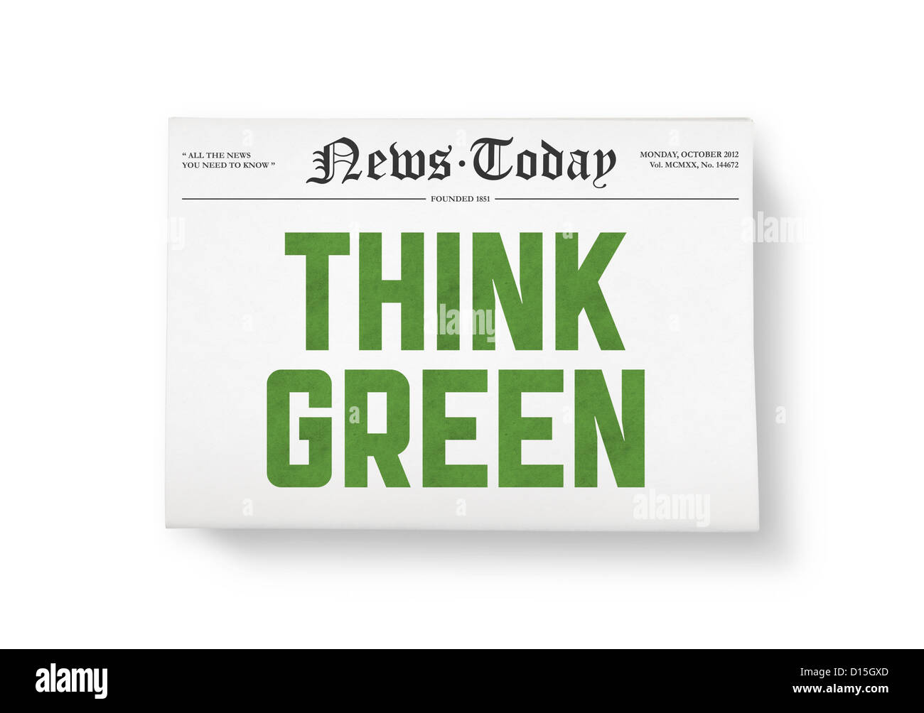 """Un quotidiani con il titolo """"Pensare verde"""". Vista Top Shot. Isolato su bianco. Immagini Stock"""