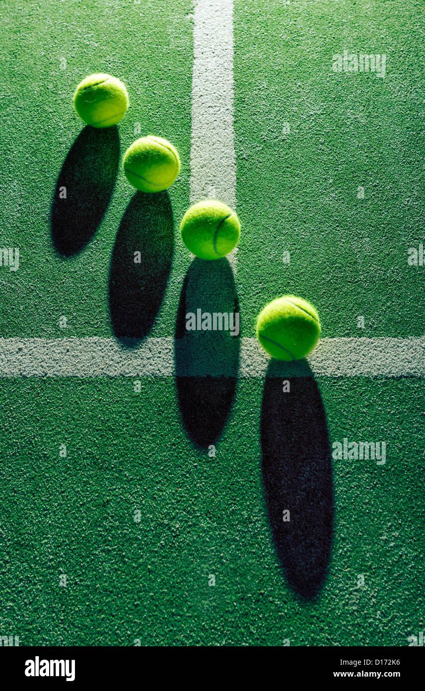 Vista astratta della palla da tennis. Immagini Stock