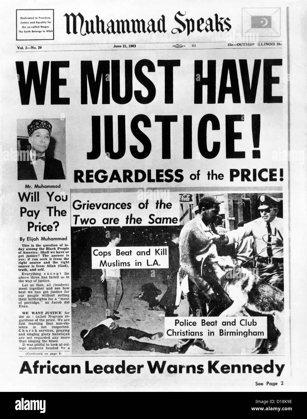 """Nero giornale musulmano, """"Muhammad parla"""", mette in evidenza gli abusi del Americani africani e le esigenze Immagini Stock"""