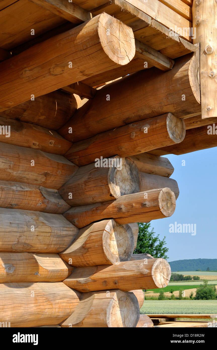 Ausschnitt eines Blockhauses, estratto di un Log Cabin, Immagini Stock